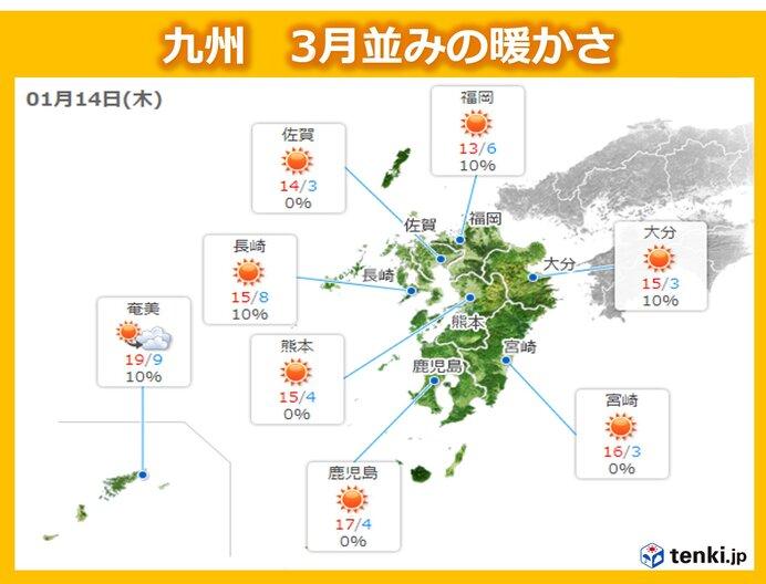 九州  一気に3月並みの陽気 朝鮮半島に黄砂飛来