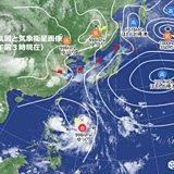 列島に台風、湿った空気、前線、強い日射