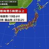 日本海側は日差したっぷり 富山や金沢37日ぶりに日照時間5時間以上