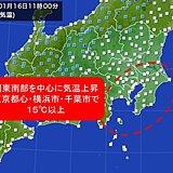 関東は南部中心に午前中から気温上昇 東京都心で34日ぶりに15℃以上