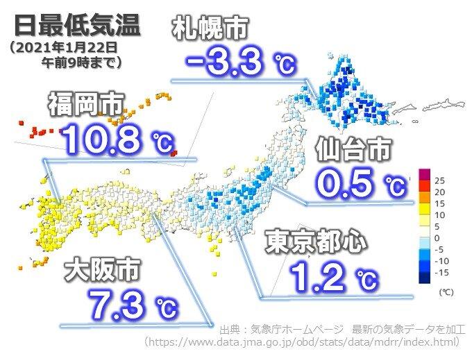 22日朝は最低気温0℃未満が400地点未満 25日ぶり