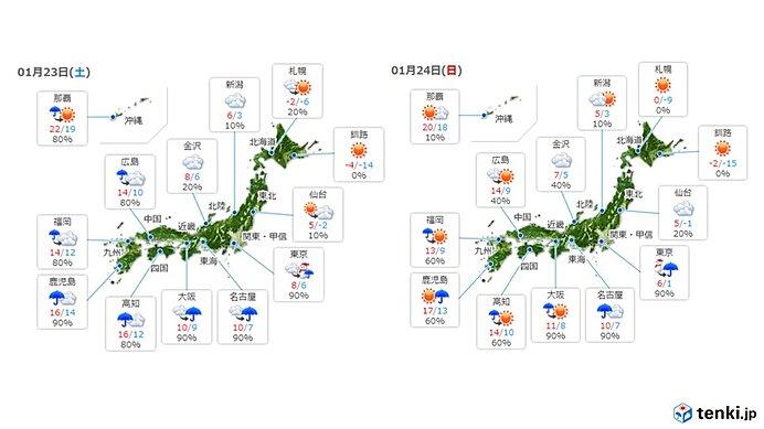 【全国】前線や低気圧の影響で広く雨の週末に