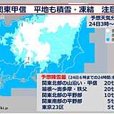 関東甲信 23日夕方から 内陸中心に大雪に 東京23区も積雪のおそれ