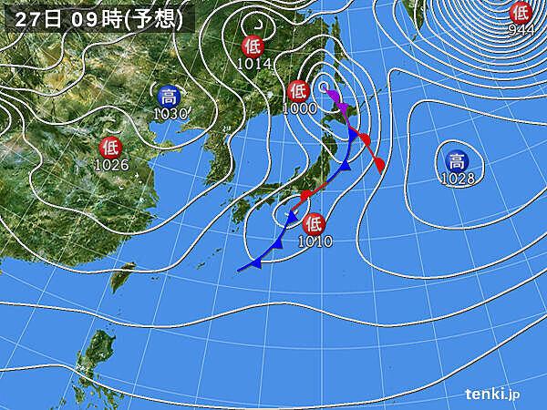 27日 九州など西から天気回復 北海道では日本海側を中心に雪続く