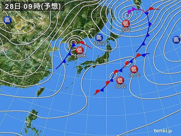 28日 北海道や東北・北陸~九州北部を中心に荒れた天気