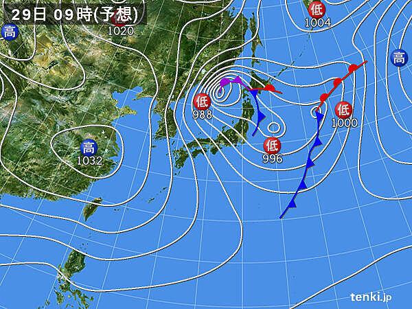 29日~30日 強い寒気 大荒れや大雪の恐れ