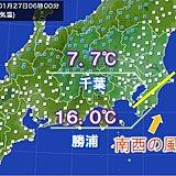 関東 暖かい朝 千葉県内 北と南で気温差 約10度