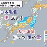28日 日中も寒い 夜は雪や風が強まる 大雪の備えは明るいうちに