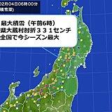 今シーズン最も雪が積もる 山形県 大蔵村肘折 積雪 331センチ