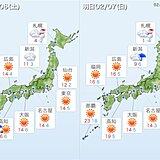 土曜は春の空気に覆われる 日曜は北日本に冬の空気 雪や吹雪に