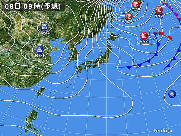 8日(月)~9日(火)  全国的に厳しい寒さ 北陸では大雪に警戒