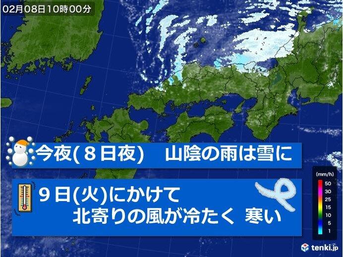 今夜(8日)は山陰の雨は雪に、9日にかけて北風が冷たく寒い