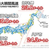 北日本で20メートルを超える強風 日本海側中心にふぶきや視界不良に注意