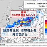群馬県北部や長野県北部などで雪強まる