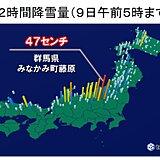 日本海側を中心に積雪増 群馬県みなかみ町藤原で12時間降雪量47センチ
