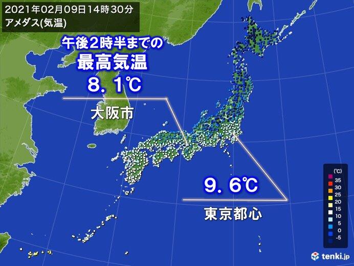 寒さ続く 東京都心や大阪市などで10℃に届かず