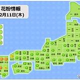 きょうも九州から関東は春の陽気 花粉が多く飛ぶ所も