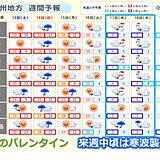 九州 雨のバレンタイン 来週中頃は寒波襲来、真冬の寒さ戻る