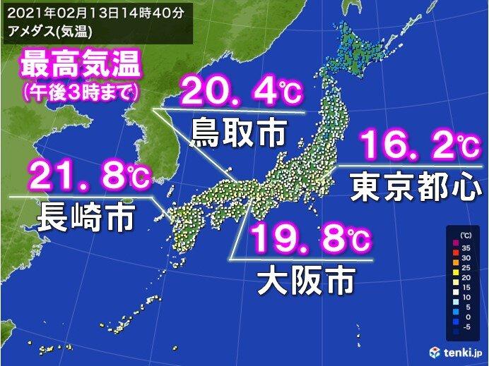 九州から北陸を中心に今年一番の暖かさ!20度超えのところも