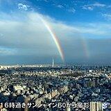 東京都心 雨あがり虹かかる 2本
