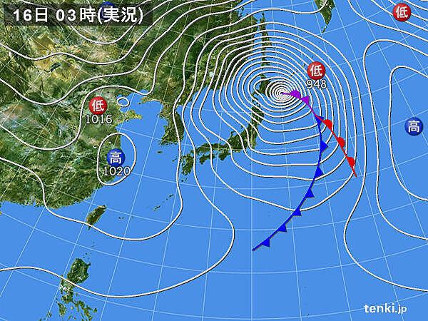 低気圧が急発達 北海道は気圧が過去最も低下 高潮 暴風に