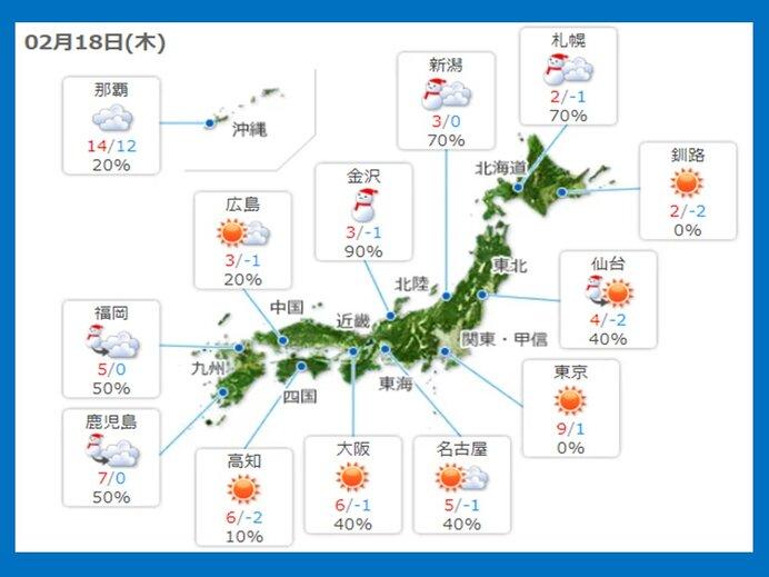 18日 東北、北海道 日本海側中心に雪やふぶき