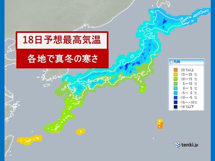 18日の気温 関東から沖縄で真冬並み