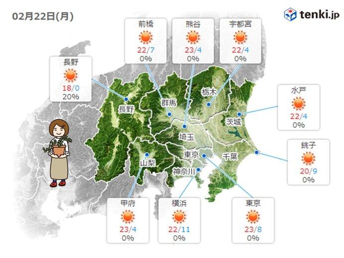 今日の東京(関東)地方 晴れて初夏の陽気も
