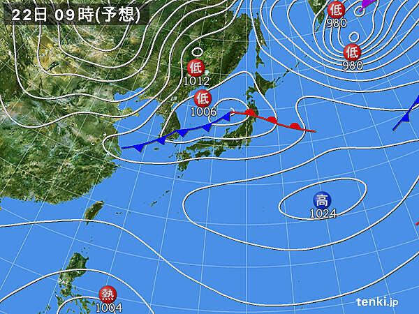 22日 東北北部を低気圧が通過 低気圧の南側は春の空気