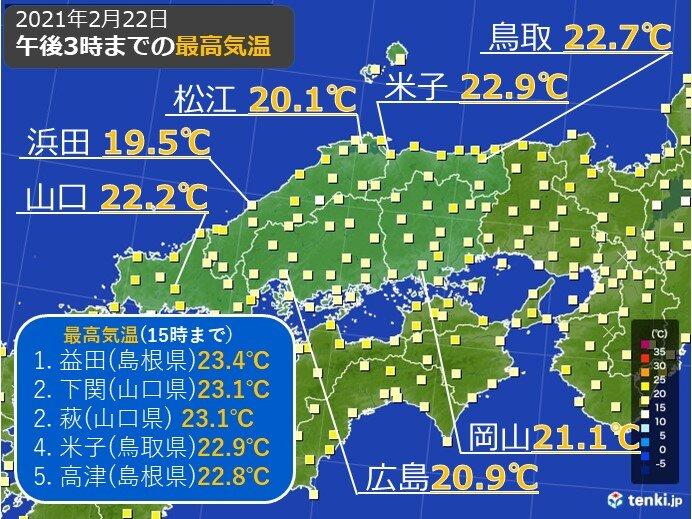 中国地方 春の陽気は一旦きょう(22日)まで