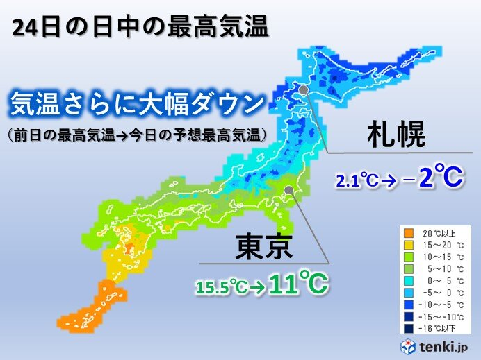 24日 さらに気温急降下 春から一転 真冬並みの寒さの所も