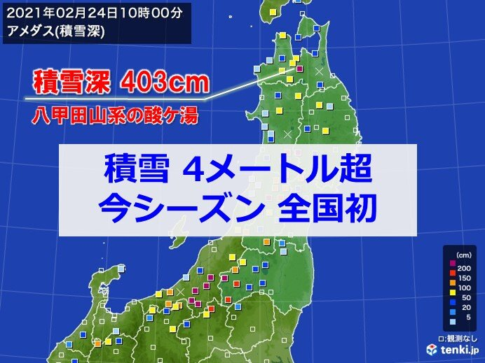 青森県酸ケ湯で積雪4メートル 今季全国で初