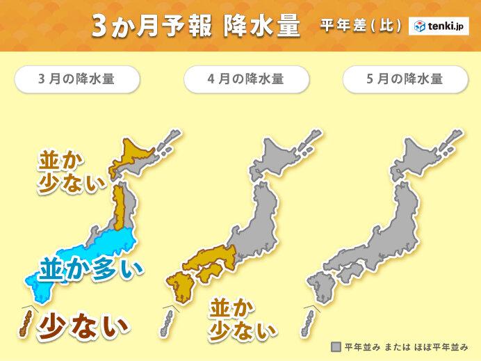 東日本太平洋側や西日本 3月は降水量が多い傾向