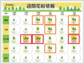 西日本だけでなく 東日本もスギ花粉のピークへ 東京で「多い」予想の日も