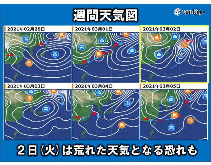 3月スタート 2日(火)は荒れた天気となる恐れも?