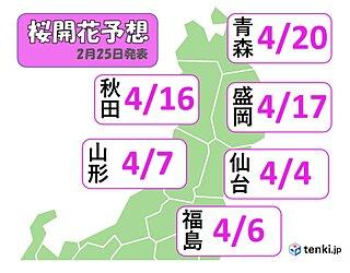 東北地方 桜開花予想