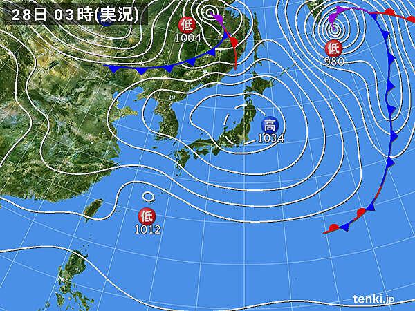 28日 広範囲で日差し届く ただ 南から湿った空気 雨具の必要な所も