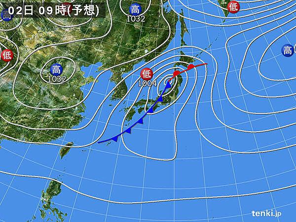 2日は低気圧が発達しながら東北地方を通過