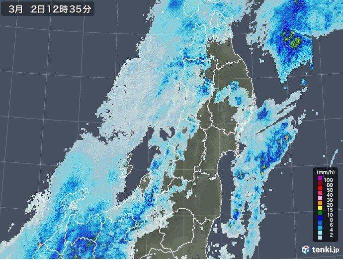 福島県の中通りと浜通りでは短い時間に激しい雨の降る恐れ