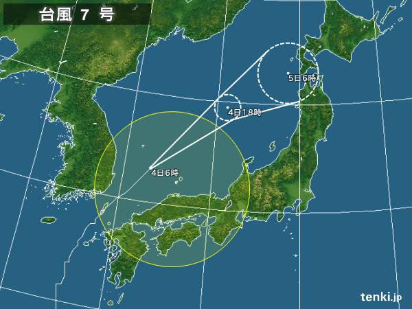 4日 台風 暴風域なくなるも大雨に警戒