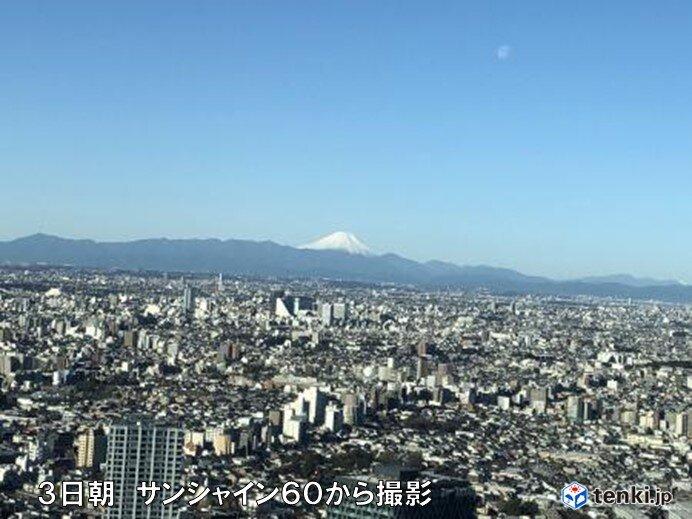 関東地方 雨のあと晴れの朝 都心の見通し40キロで富士山もくっきり