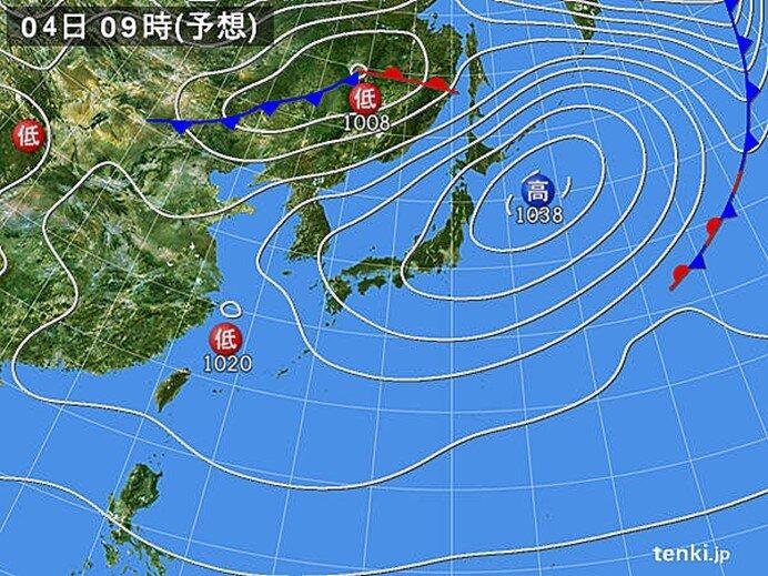 4日(木) 関東~九州は雲が多く 九州では夜は雨