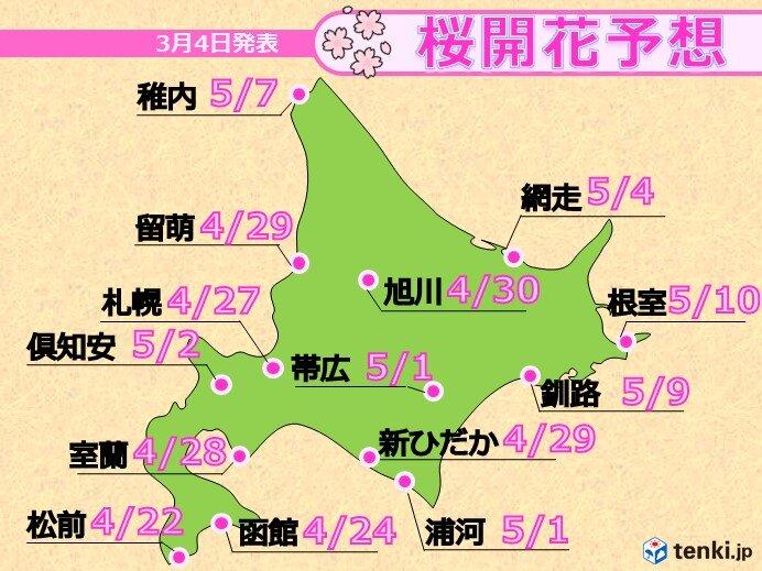 桜の開花予想 平年より一週間前後早い