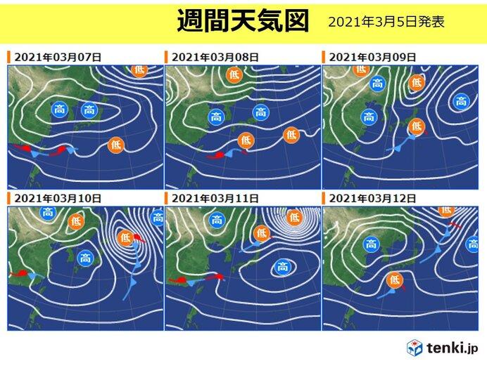 7日以降 北日本は晴れて 朝は強い冷え込みの日も