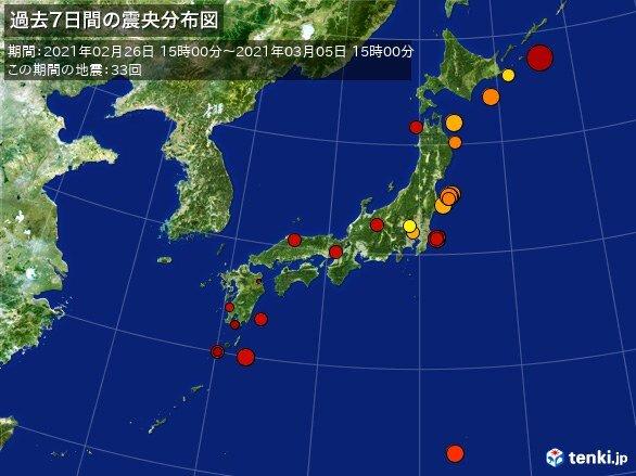 ここ1週間の地震回数 震度3の地震が6回