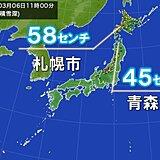 北海道や東北の積雪 平野でも40センチ以上 早めの雪下ろしを