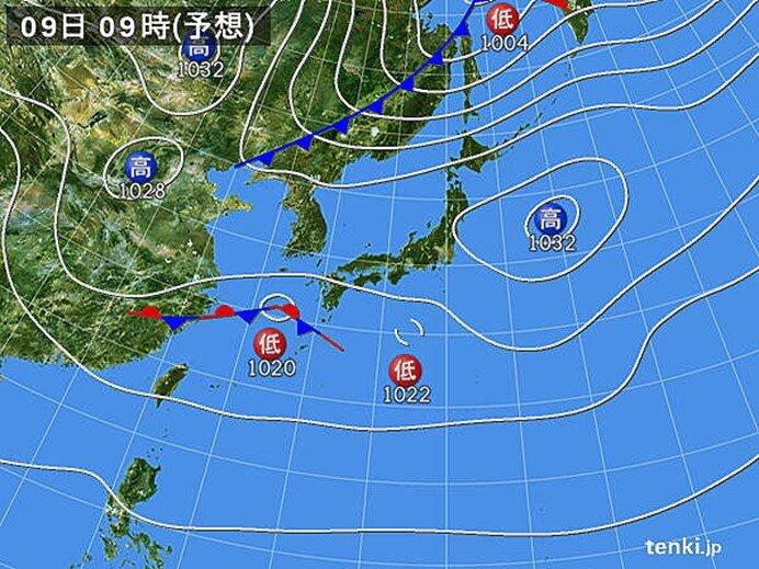 9日(火)~10日(水) 雨雲かかる 風が強まる可能性も