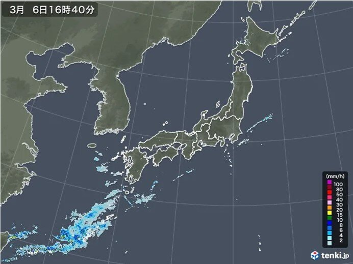 沖縄付近に発達した雨雲 久米島でやや強い雨を観測 激しい雨や雷雨に注意