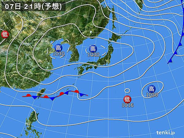 7日(日) 全国の天気 西の地域ほど雲が多い 雨の所も