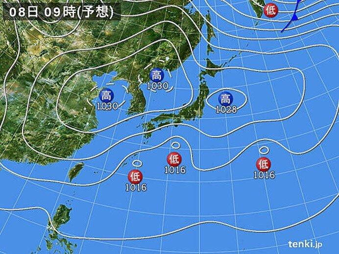 8日(月) 九州南部や四国の太平洋側で20℃くらいに
